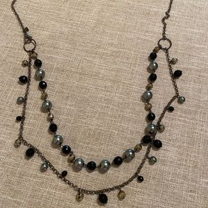 Cookie Lee gunmetal black silver bead necklace
